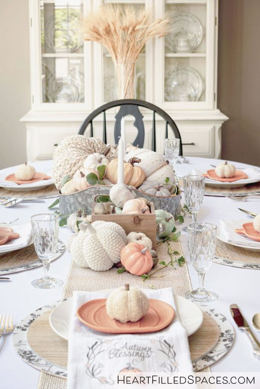 Thanksgiving Table Decor Ideas, with pumpkin centerpiece.