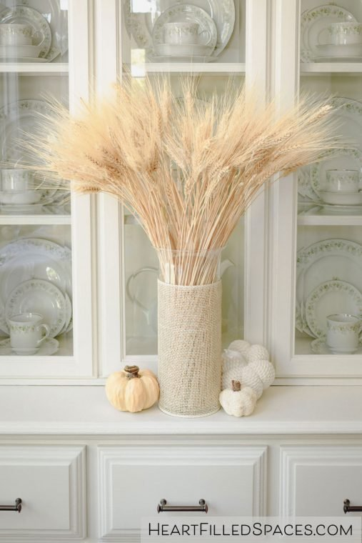Wheat in a vase to decorate a dining room for Thanksgiving.