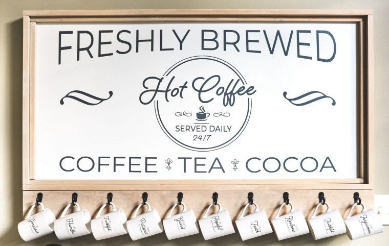 How to build a DIY Coffee Bar Station for your kitchen with full tutorial and free printable.