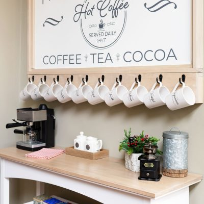 How To Build A Farmhouse Style Coffee Bar Station For Your Kitchen