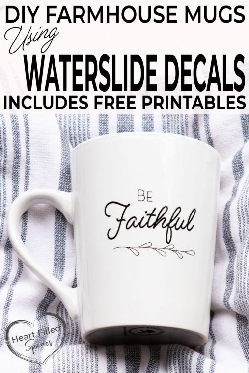 How to make a DIY inspirational cup set or coffee mugs with a complete tutorial for Water Slide Decal paper for a gift. Includes free printable design to make this project simple.