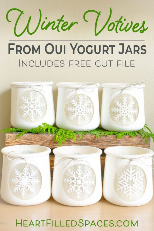 Winter Snowflake Craft Diy Votive Holders From Up Cycled Oui Jars Heart Filled Spaces