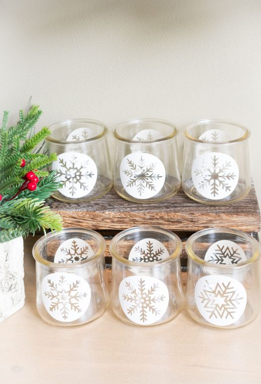 DiY Snowflake Jars with with snowflake medallion and free printable and cut file.