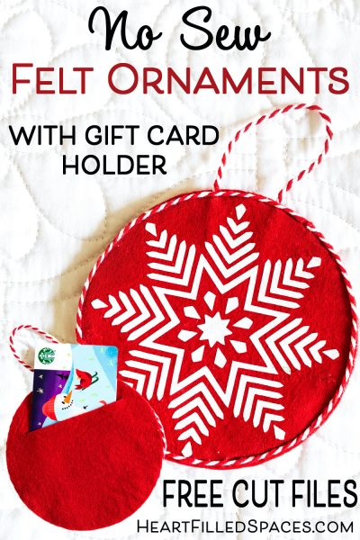 Red and white DIY Christmas ornaments with gift card holder with snowflake design.
