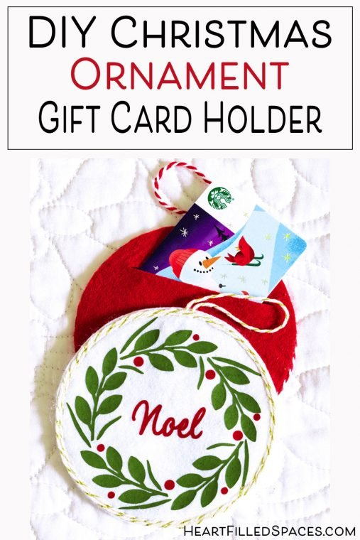 DIY felt ornaments with gift card holder.