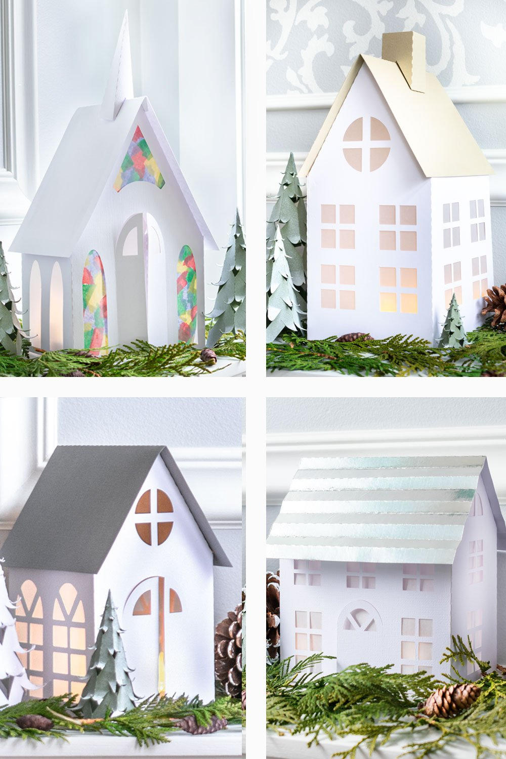 Christmas Village Houses Paper Craft Free Templates Heart Filled Spaces