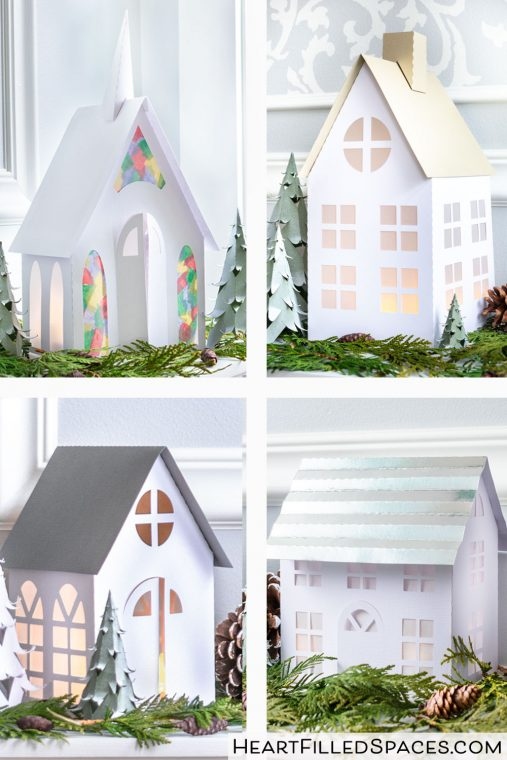Four DIY houses for a Christmas village.