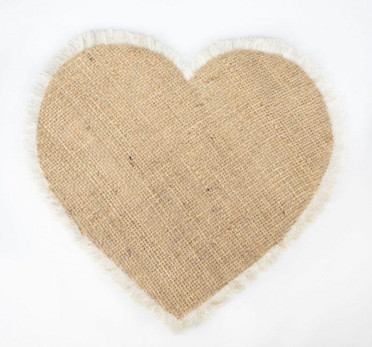 Assembled burlap fringe heart for Valentine's Day pillow.