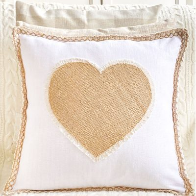 No-Sew Burlap Heart Pillow With Fringe Edge For Valentine's Day