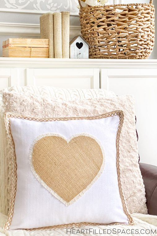 How to make a farmhouse no-sew fringe burlap heart pillow for Valentine's Day.