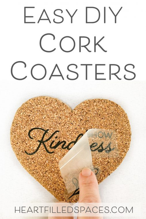 Easy craft idea for making DIY cork coasters with heat transfer vinyl.