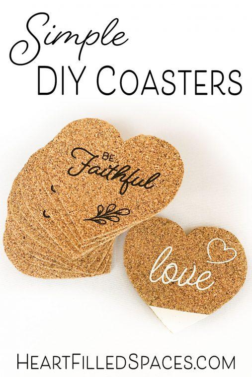 How to make custom heart shaped cork coasters using heat transfer vinyl.