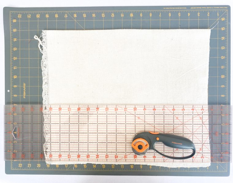 Trim your fabric with a rotary cutter.