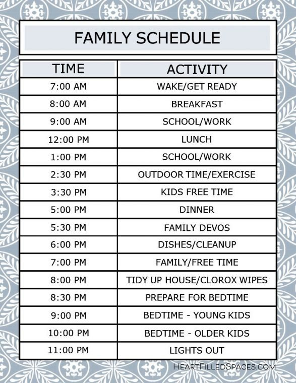 Free editable printable templates: daily family schedule to keep a consistent routine.