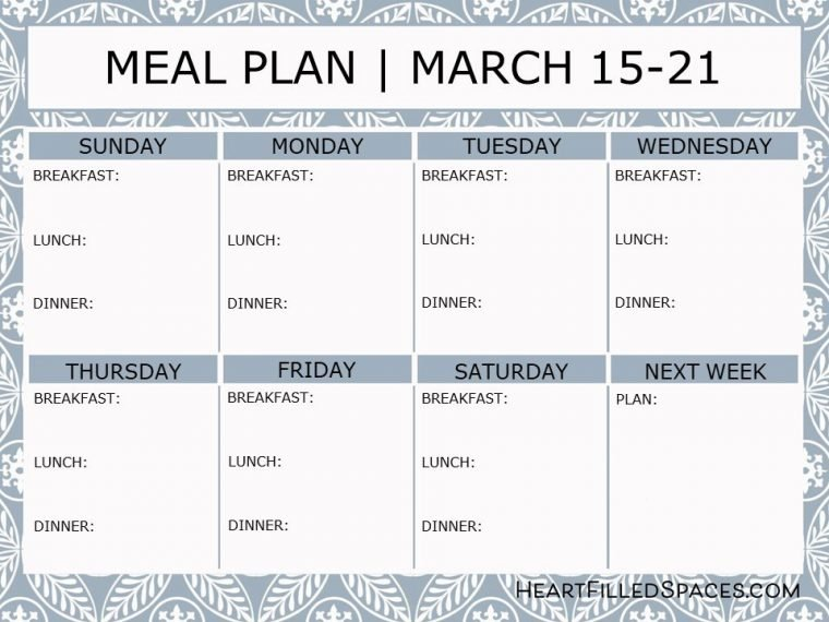 Weekly Menu Template Free from heartfilledspaces.com