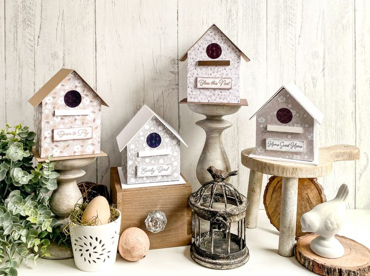 How to make DIY paper birdhouses for spring with free templates.