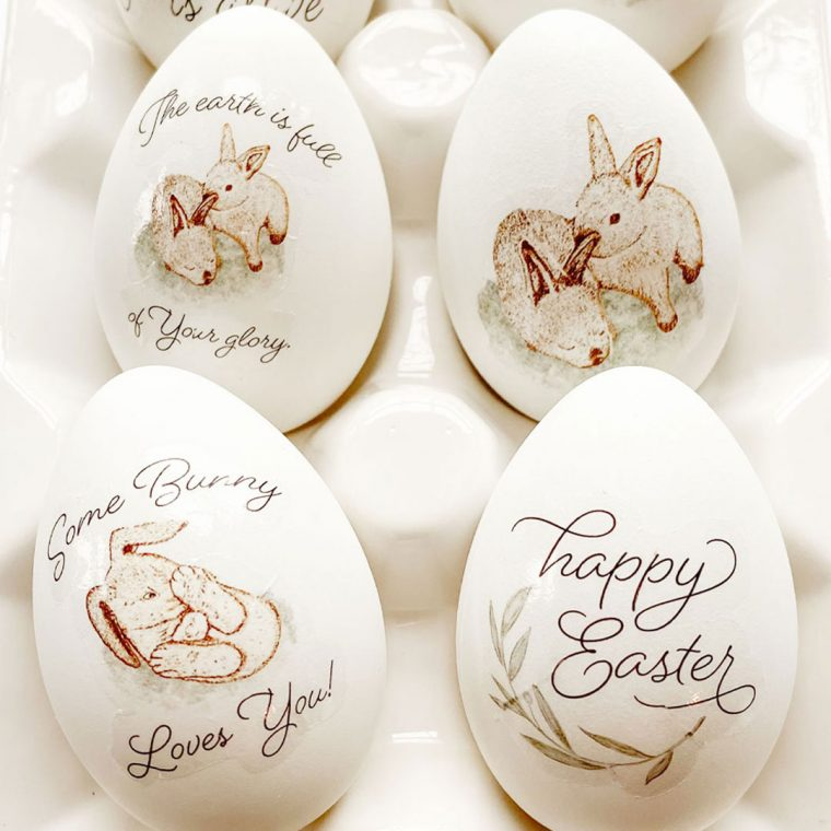 Easy Easter egg decorating tutorial using waterslide decal paper and free Easter printables.