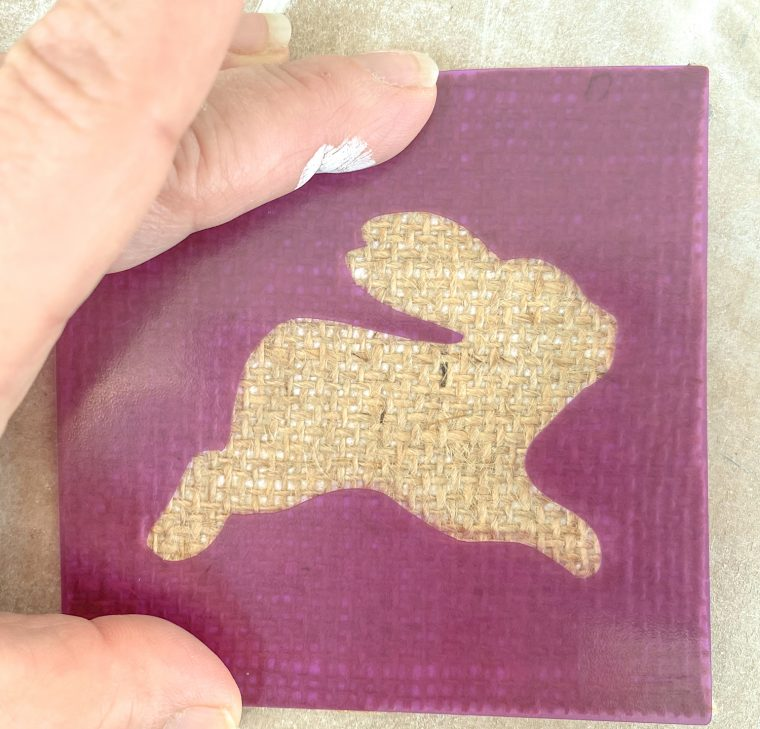 How to stencil the bunny on to the burlap fabric.