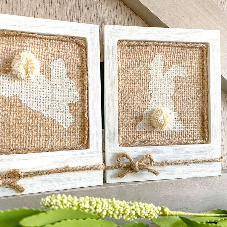 Easy DIY burlap bunny frames for Easter.