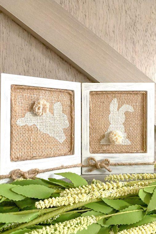 Easy DIY burlap bunny frames for Easter.