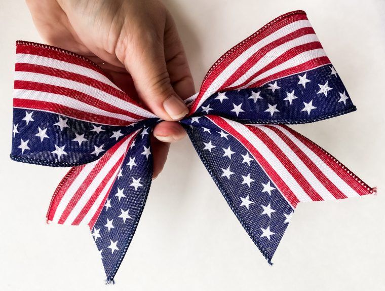 How to make a bow for a patriotic wreath.