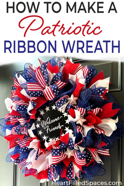 Instructions for making a deco mesh and tied ribbon wreath including how to make a work wreath, how many yards of ribbon for a wreath, and free clipart or SVG file for a wreath sign.
