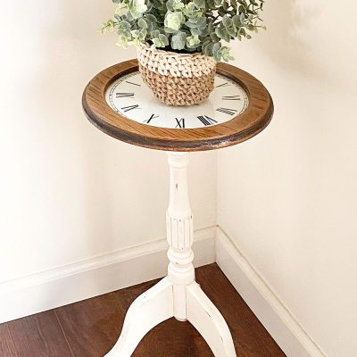 Refinished Wood Plant Stand With A DIY Vinyl Clock Tabletop
