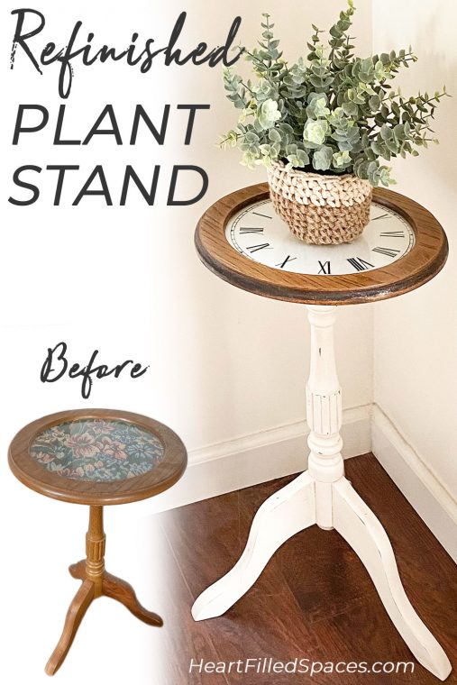 Before and after picture of a refinished wood plant stand.