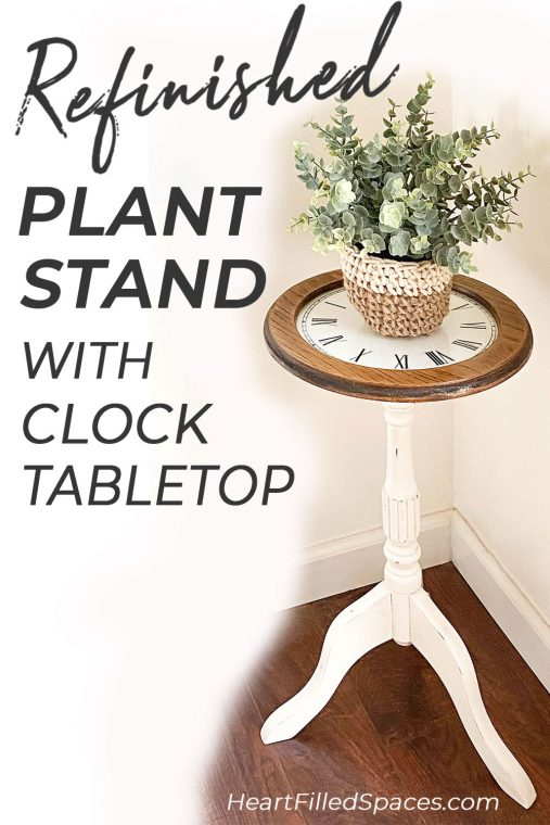 Refinished wood plant stand after paint, stain and vinyl clock tabletop.