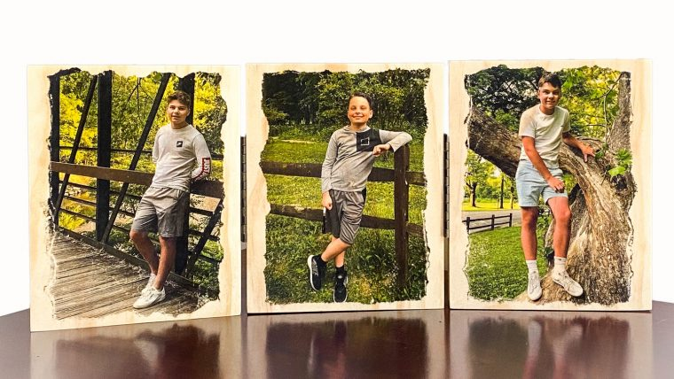 DIY handmade Father's Day gift, project includes tutorial with wood prints, image transfer, simple frames for a connected photo collage.