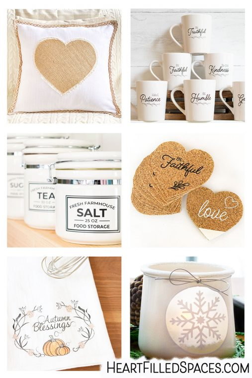 How to make 26 DIY home decor projects with your Silhouette Cameo 4, including htv, vinyl, fabric, card-stock, stencils and labels.