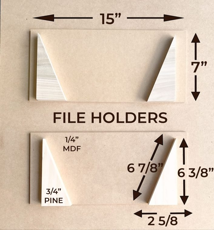 Cut dimensions for a wall file holder for an office oraganizer.