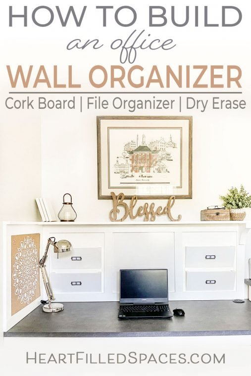 How to build a DIY office wall organizer complete with file holder, cork board, dry erase and shelf to maximize your desk workstation.