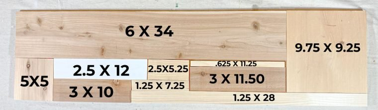 Wood block dimensions for a farmhouse sign.