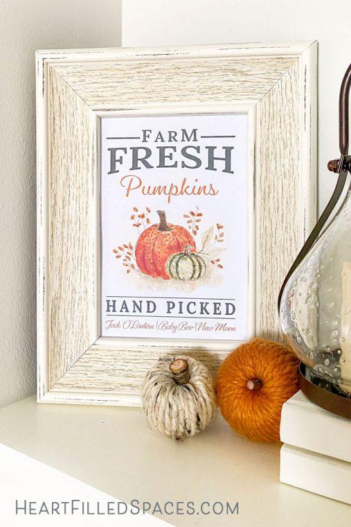 Signe de citrouille gratuit imprimable avec un signe de citrouille cueilli à la main de style ferme moderne pour la décoration de votre maison d'automne.