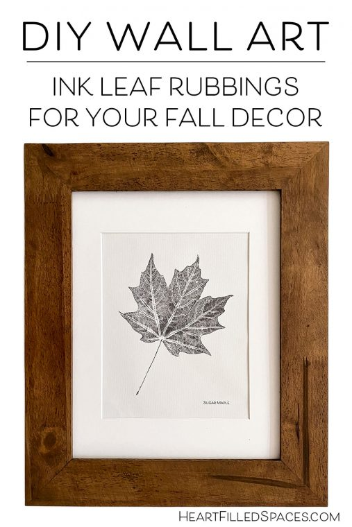 DIY Black and white leaf printings for fall wall art or decor.