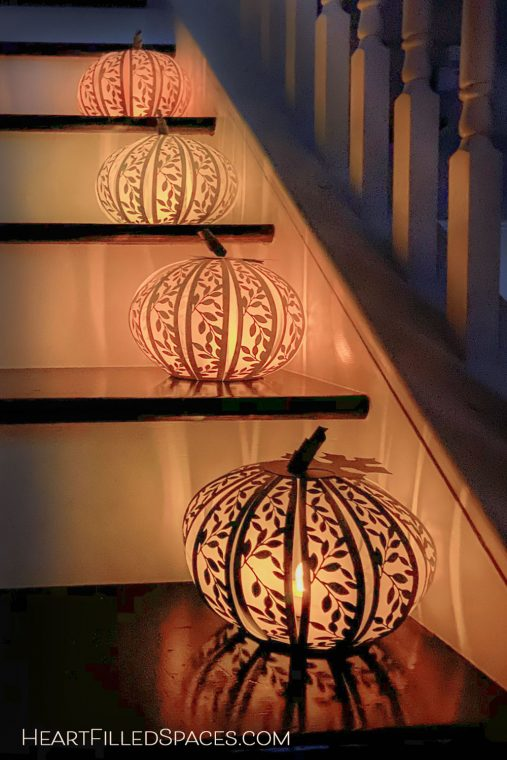 Handmade pumpkin luminaries for fall.