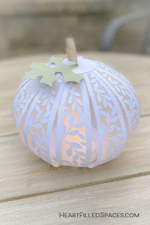 White paper pumpkins for autumn.