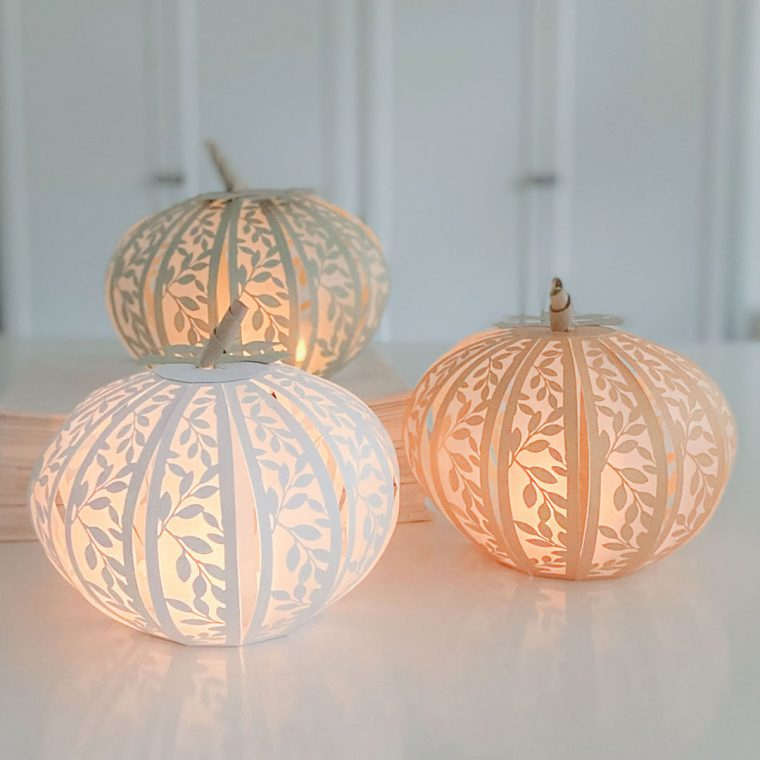 Handmade paper pumpkins for Thanksgiving.