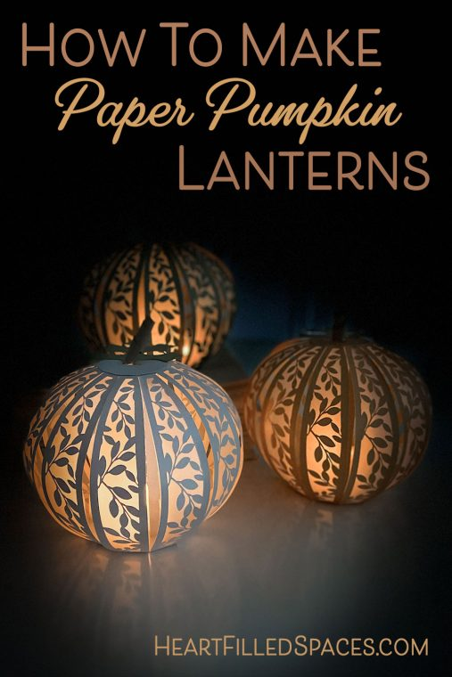 Handmade paper pumpkin lanterns for fall, Thanksgiving or Halloween.