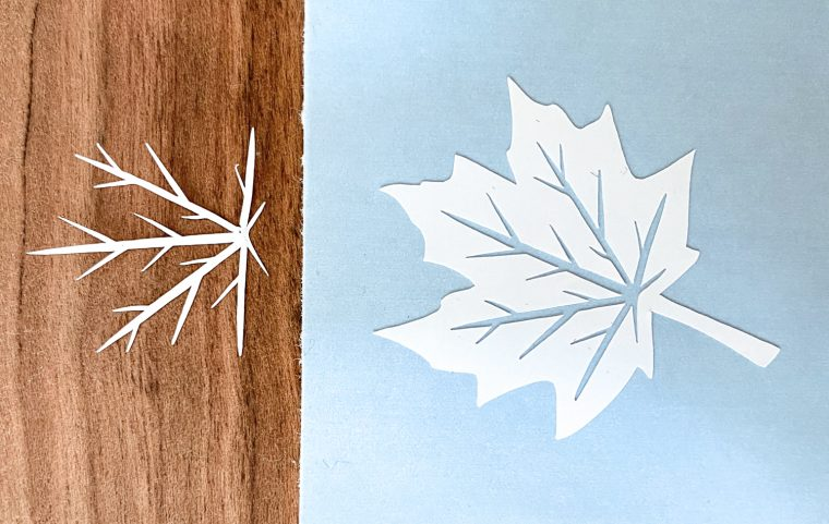 Vinyl maple leaf cutout ready to add to fall candle holders or other fall decor.