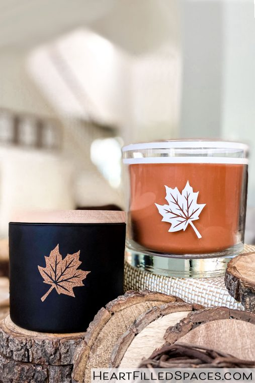 How to add vinyl maple leaf clipart cutouts to your candle holders for your fall decor.