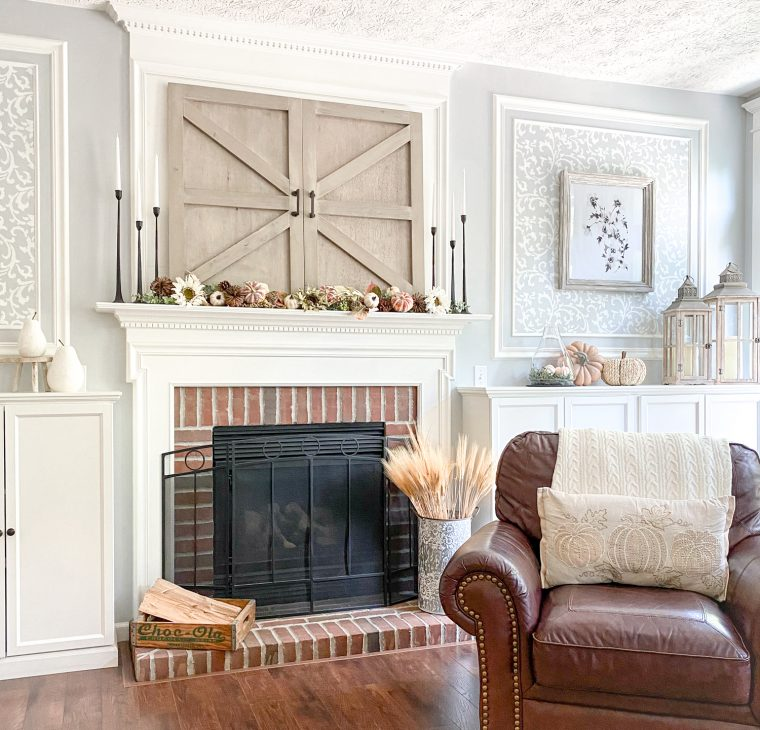 Fall living room decorating with fireplace mantel decor.
