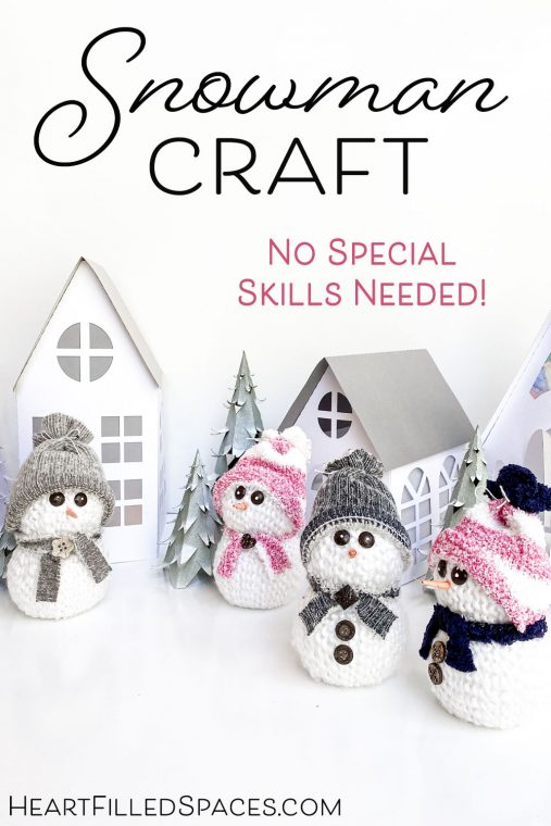 Easy & cute snowman craft for Christmas decorating using yarn, Styrofoam and socks.
