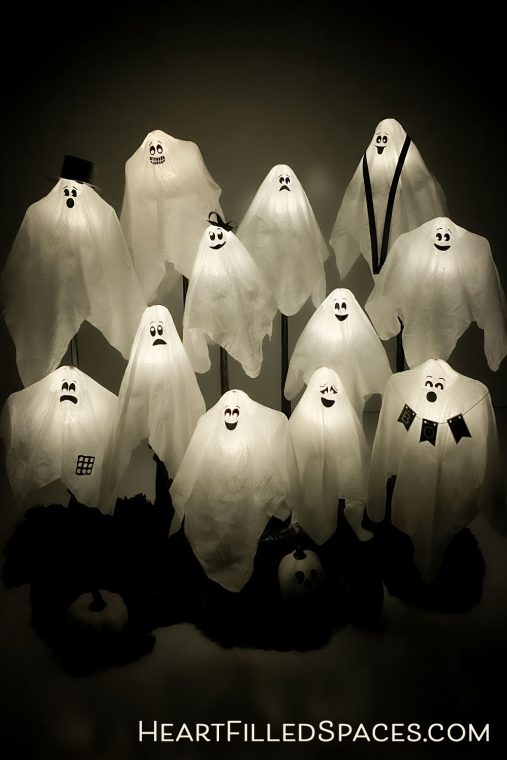 How to make cute hanging ghosts for a cheap Halloween decoration with free SVG files.