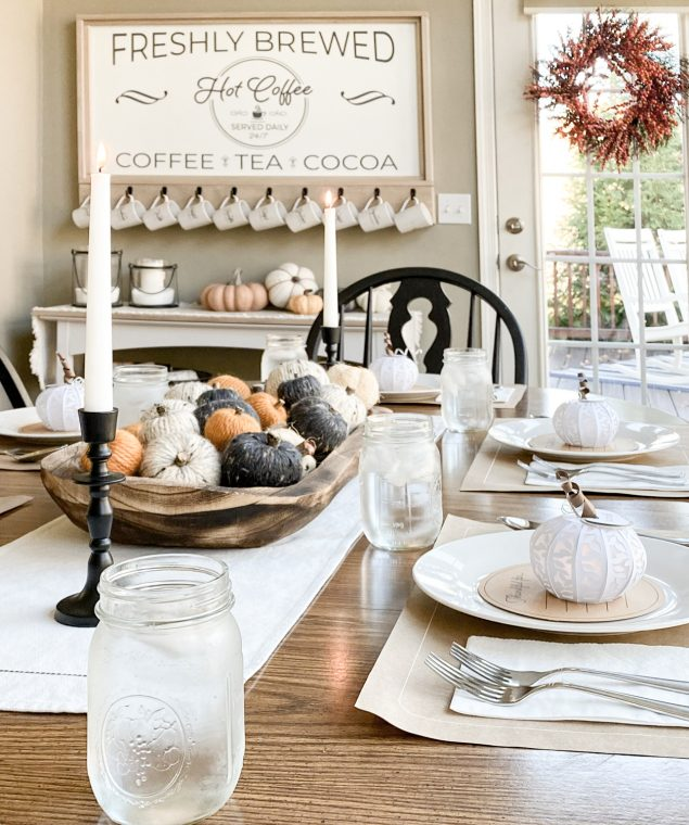 Fall Table Setting with DIY Thanksgiving table decorations,, place mats, place cards and gratitude cards.