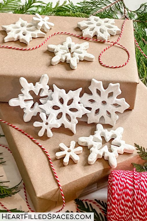How to make white snowflake salt dough ornaments for Christmas.