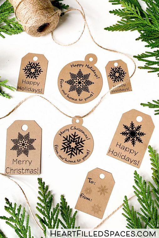 Free printable Christmas gift tags, farmhouse style.