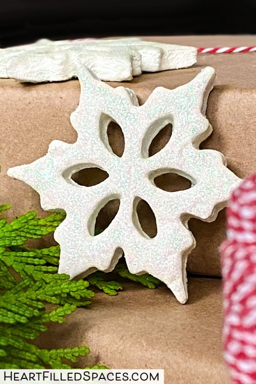 White snowflake ornaments made from salt dough.