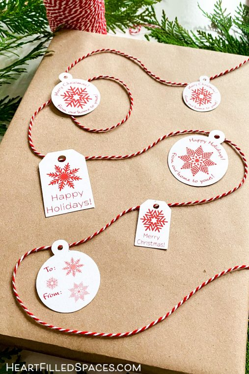 Free red and white printable snowflake gift tags.